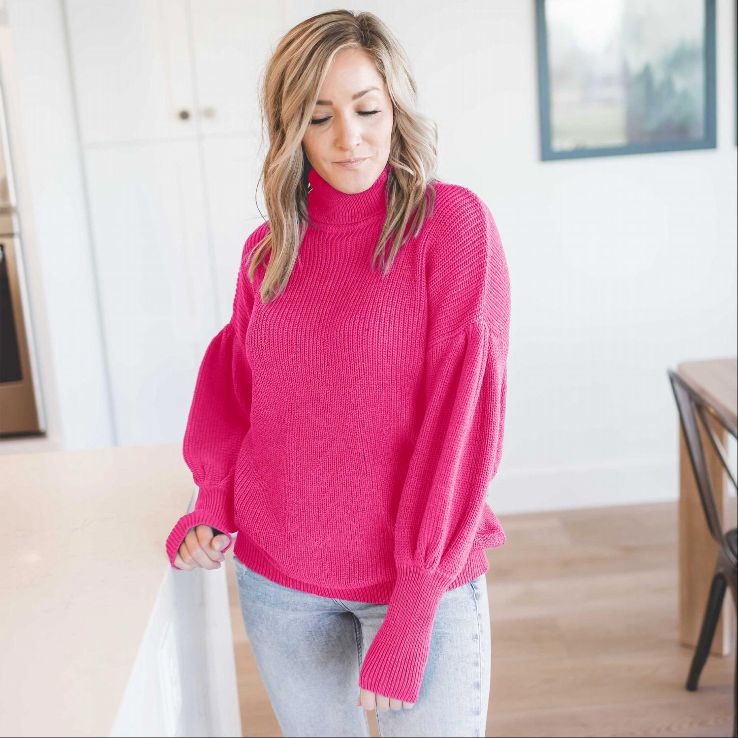Hot Pink Victorian Sleeve Textured Turtle Neck