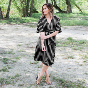Black Striped Vee Neck Dress