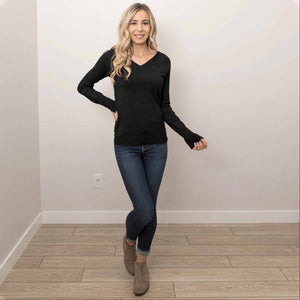 Black Women's Warm Long Sleeves Slim Fit V- Neck Pullover Tops Casual S-L USA