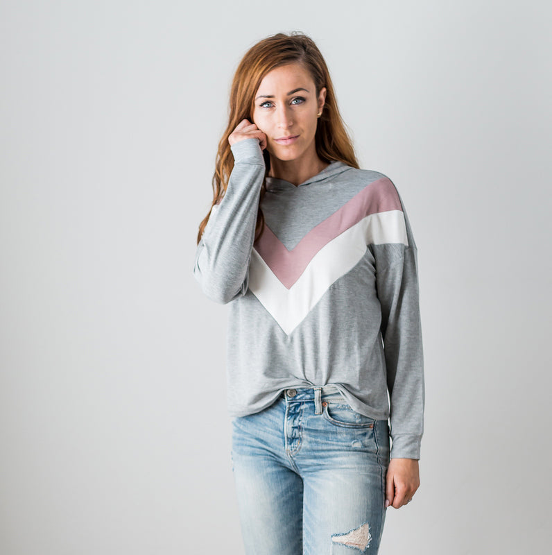 Mauve Women's Sweatshirt Hoodie Chevron Long Sleeve Blouse Cute Spring Crop Top S-L