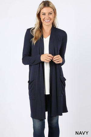 Navy Women's Long Cardigan Slouchy Pocket Long Sleeves Open Front Solid Winter USA