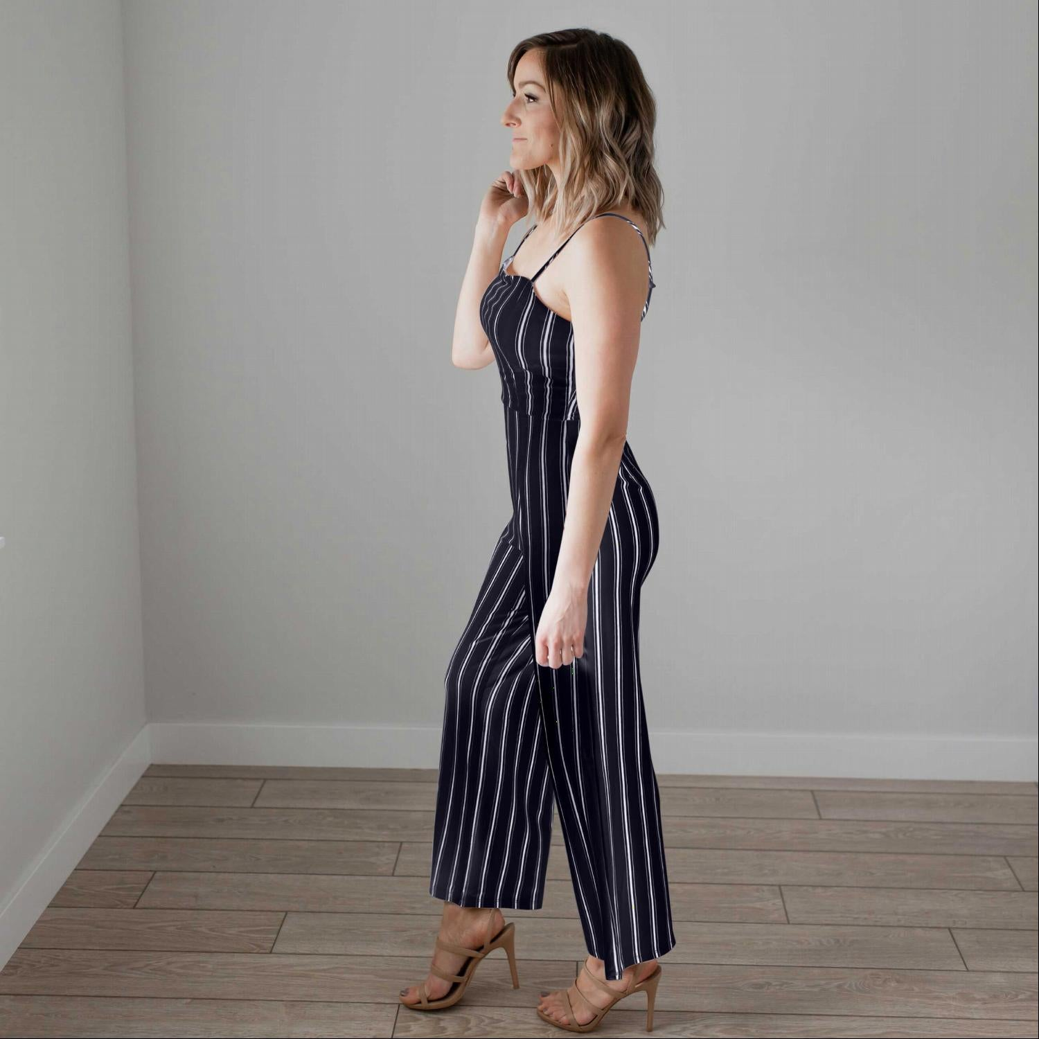 Navy Striped Knit Cami Jumpsuit
