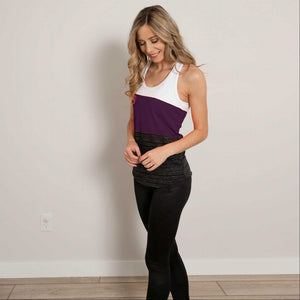 Plum Contrast Color Block Soft Workout Tank