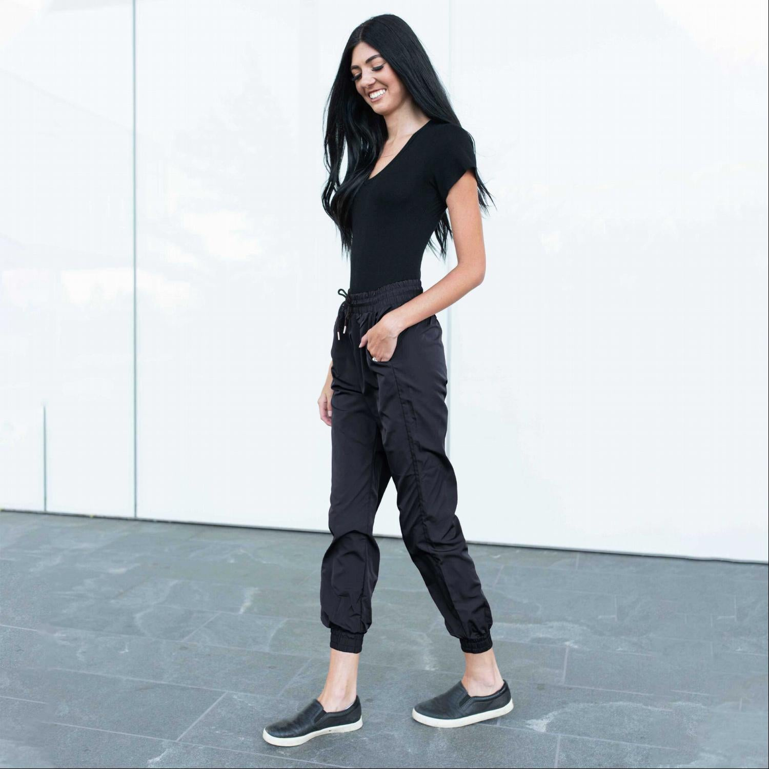 Black Banded Drawstring Active Jogger Pants