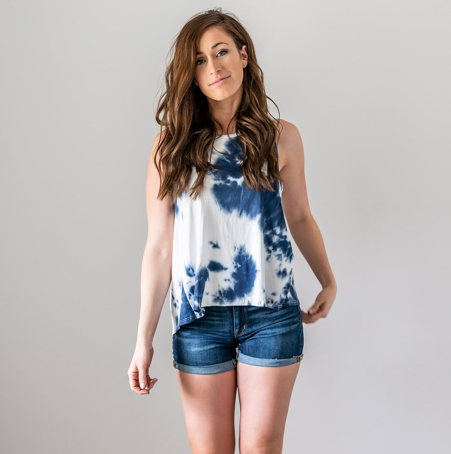 Navy Tie Dye Tank with Back Knot