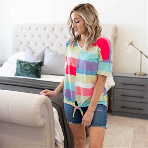 Pink Multi Color Striped Short Sleeve Top With Front Tie