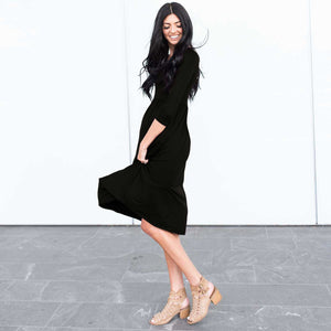 Black Three Quarter Length Baby Doll Midi Dress