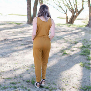Mustard French Terry Knit Sleeveless Jumpsuit