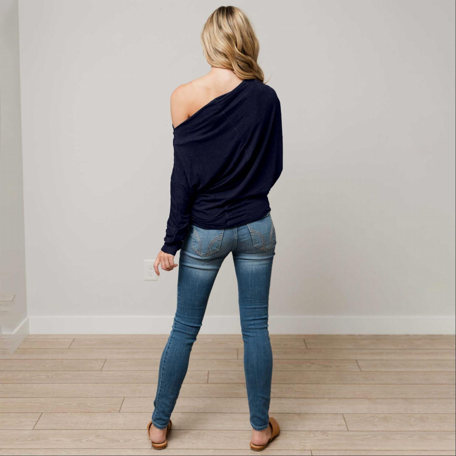 Navy Off Shoulder Dolman Long Sleeve Top