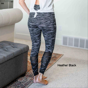 Heather Black Womens Animal Print Mesh Cross Strap Leggings Yoga