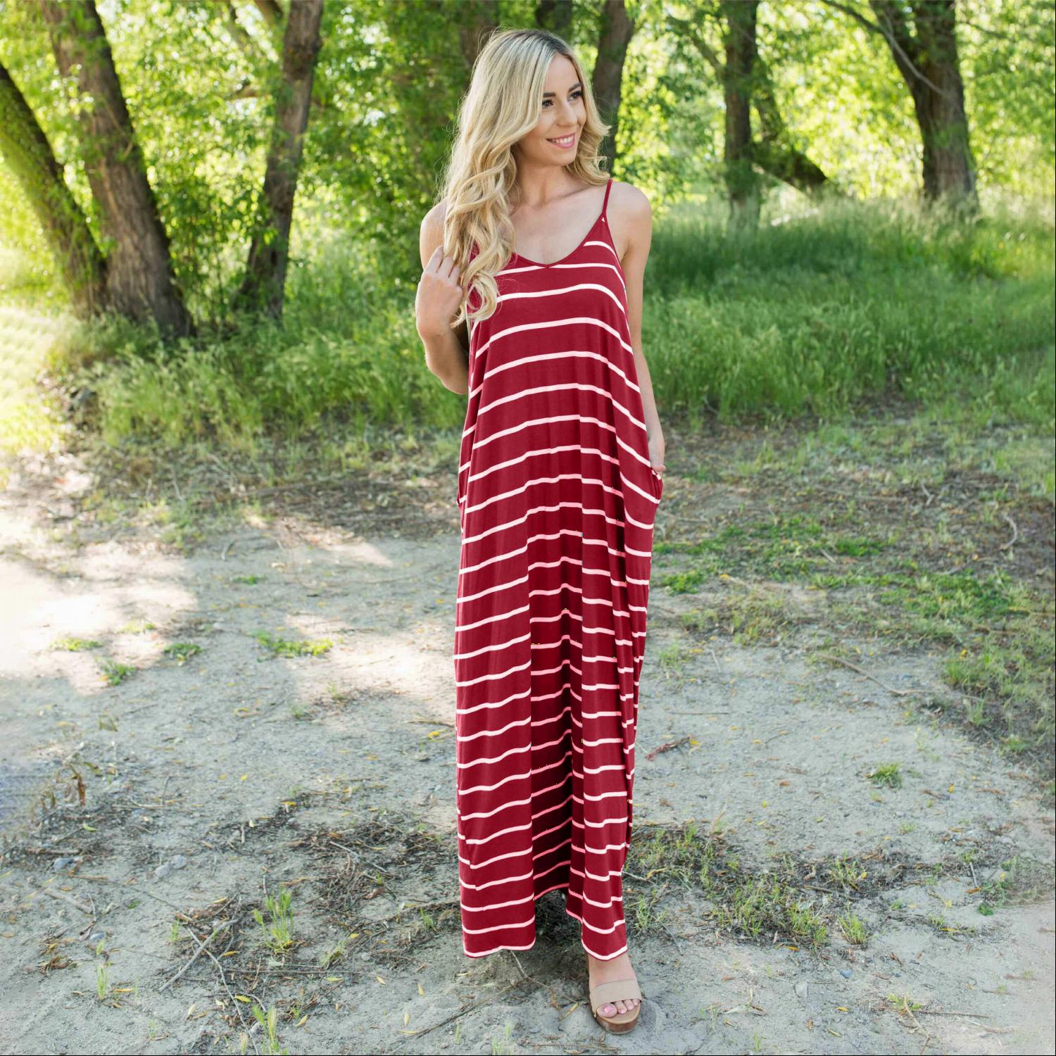 Wine Striped Vee Neck Cami Maxi Dress