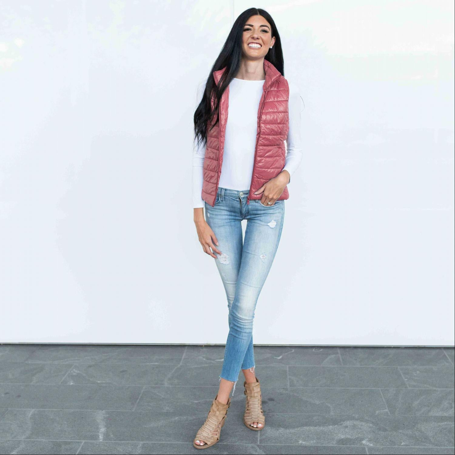 Mauve QUILTED PADDING VEST