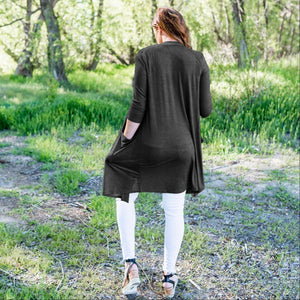 Charcoal Hacci Long Duster Cardigan