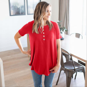 Ruby Short Sleeve Dolphin Hem Shell Button Top