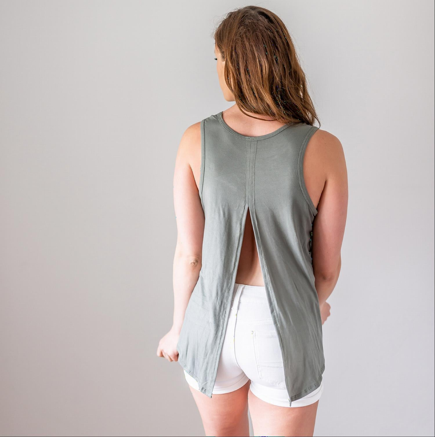 Olive Tank Top with Back Knot