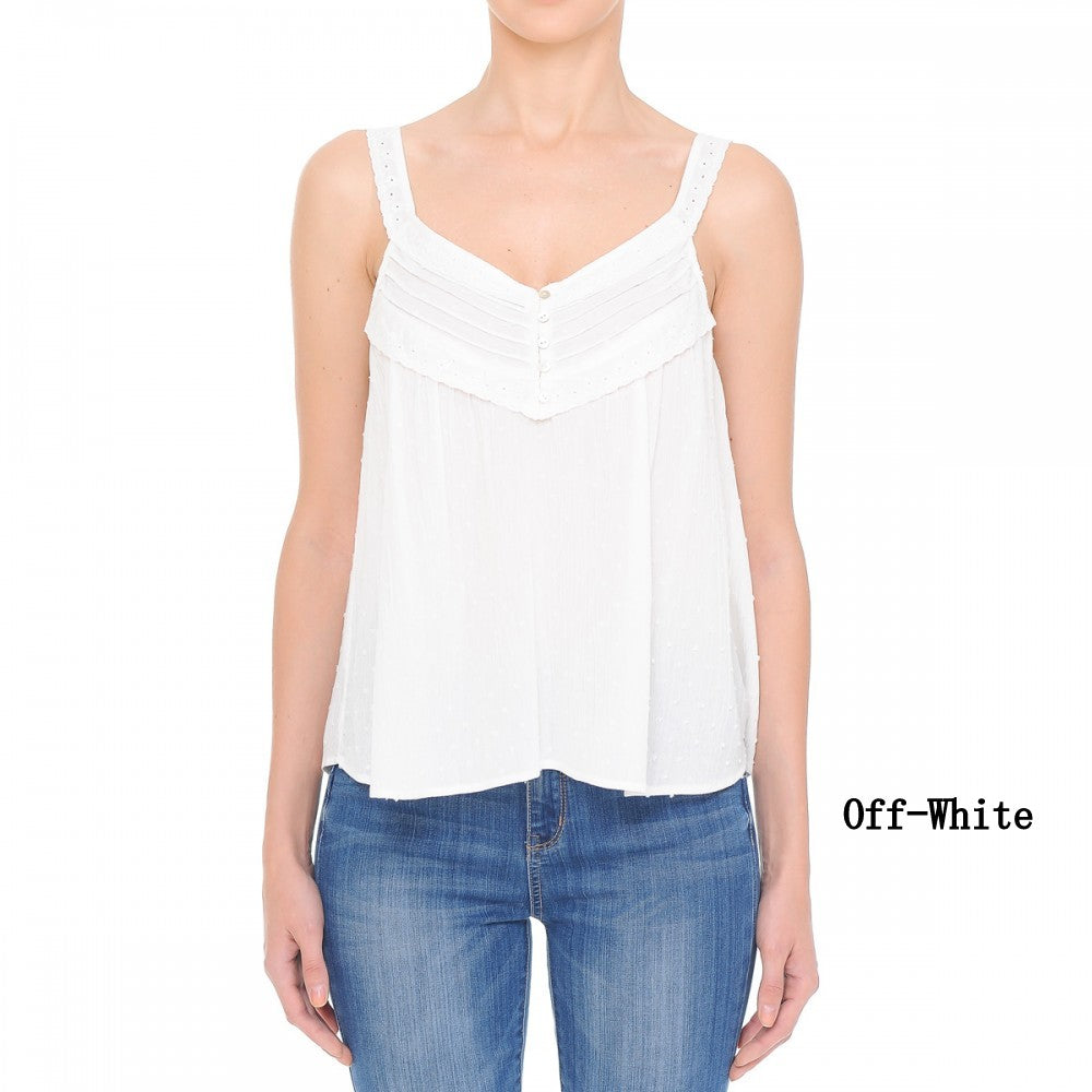 Off White US Women's Summer V-Neck Lave Cami Tank Top Swiss Dot Button-Front S-L