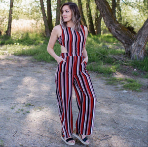 Rust Multicolored Cutout Back Jumpsuit
