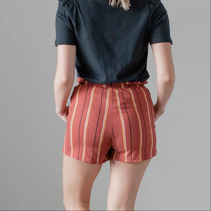 Rust Womens Striped Shorts Waist Tie Boho