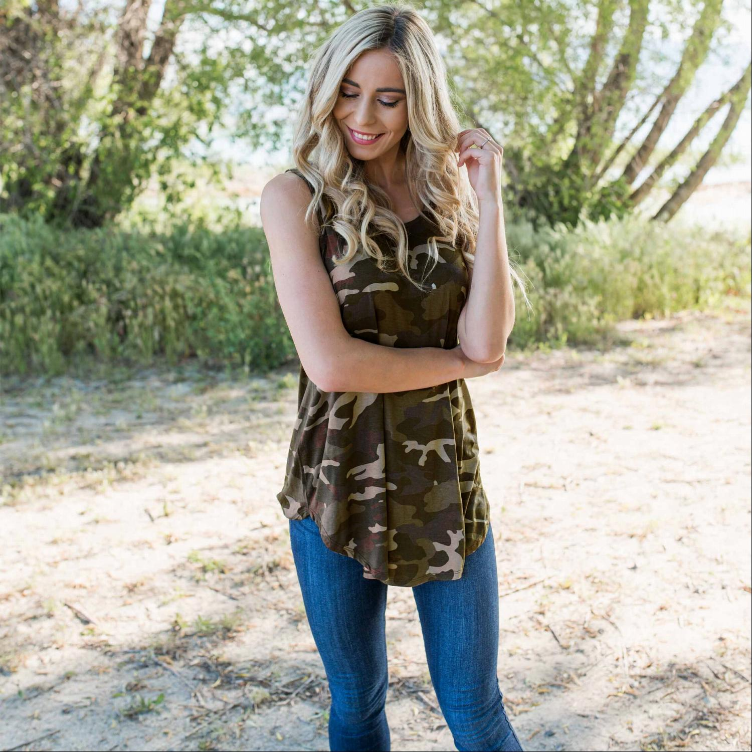Green Camoflauge Round Neck Top