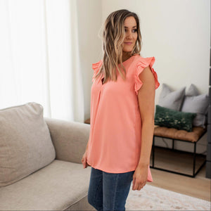 Coral Woven Wool Peach Ruffled Sleeve High-low Top