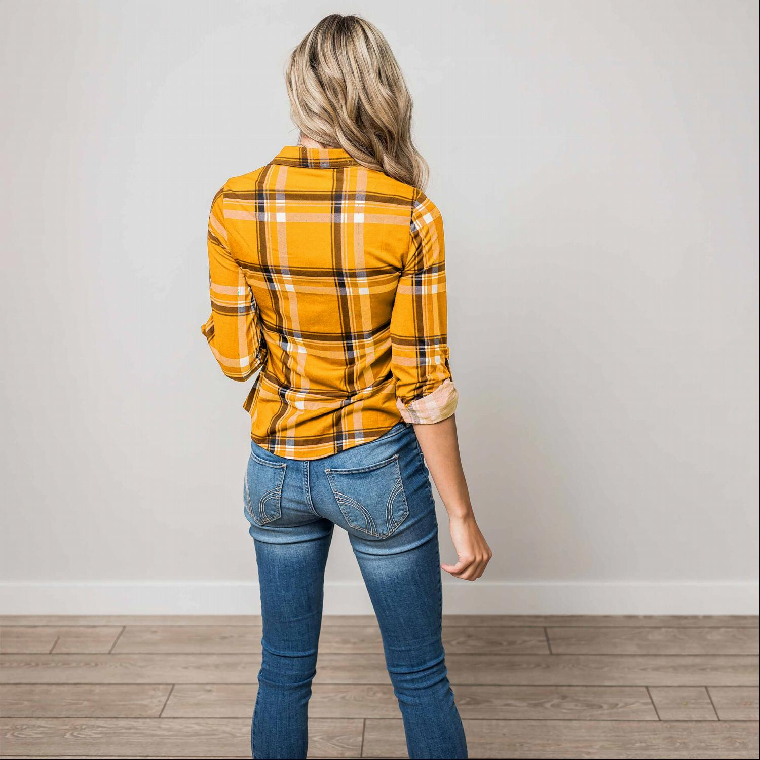 Mustard ROLL UP SLEEVE FRONT POCKET DETAIL PLAID CHECK PRINT STRETCH KNIT SHIRTS