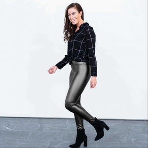 Black Pull on Faux Leather Leggings