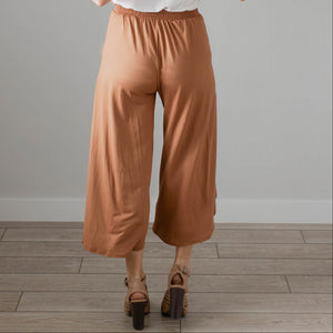 Rust Womens Split Skirt Pants Casual Wrap Crop High Waist Wide Leg Loose Trouser US