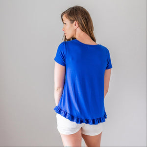 Royal Short Sleeve Ruffle Hem Top