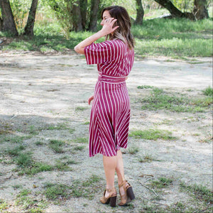 Burgundy Striped Vee Neck Dress