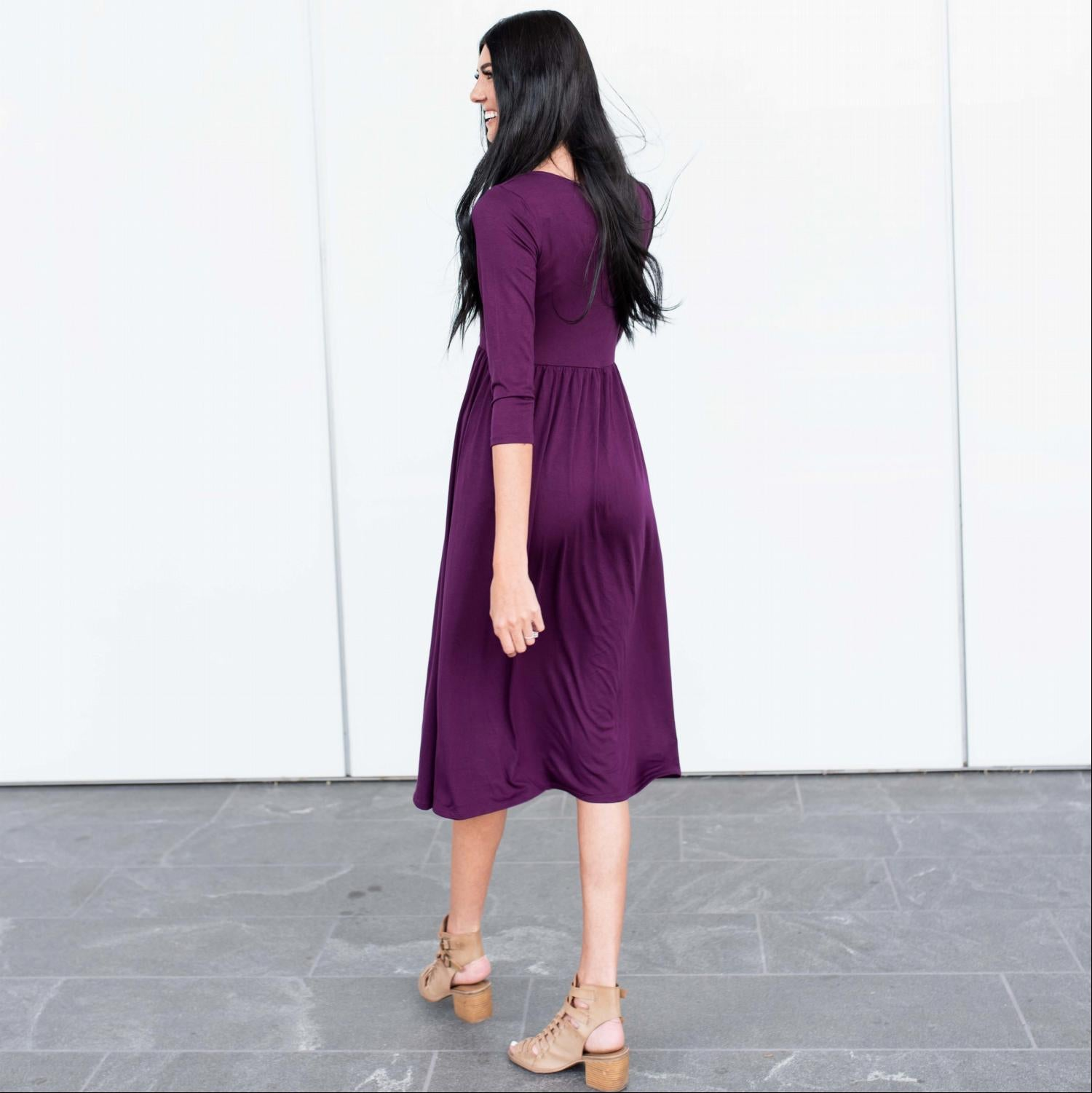 Purple Three Quarter Length Baby Doll Midi Dress