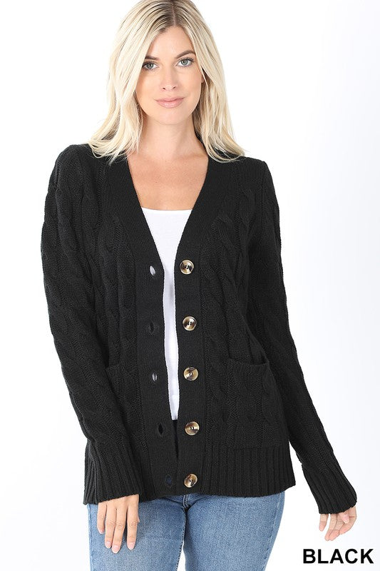 Black Women's Cardigan Sweater Cable Knit Button Fronts Pockets Long Sleeve Spring USA