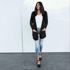 Black Zenana LONG SLEEVE POPCORN CARDIGAN WITH POCKETS