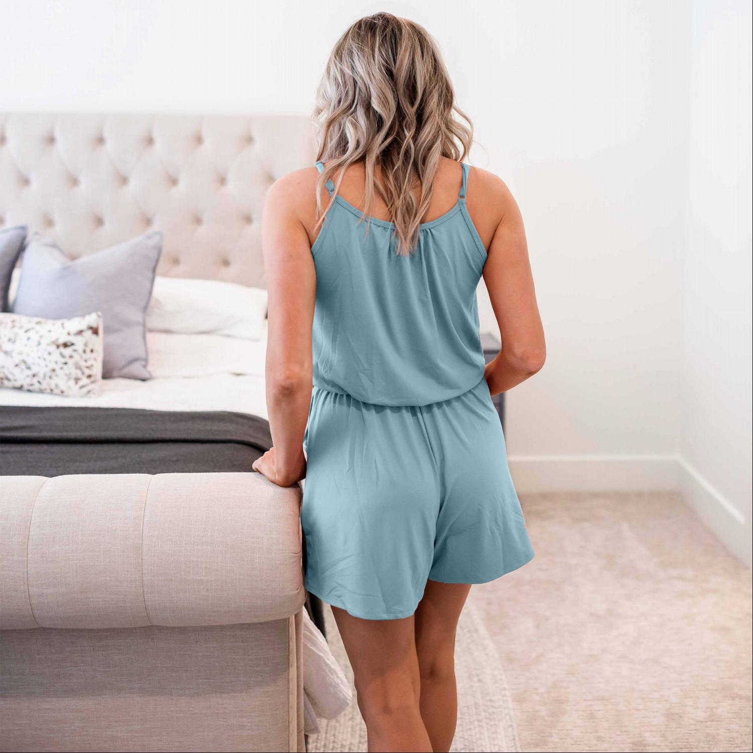 Blue Grey Solid Cami Jumpsuit