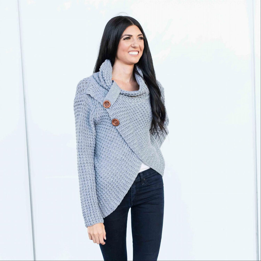 Heather Grey Wrap Long Sleeved Sweater