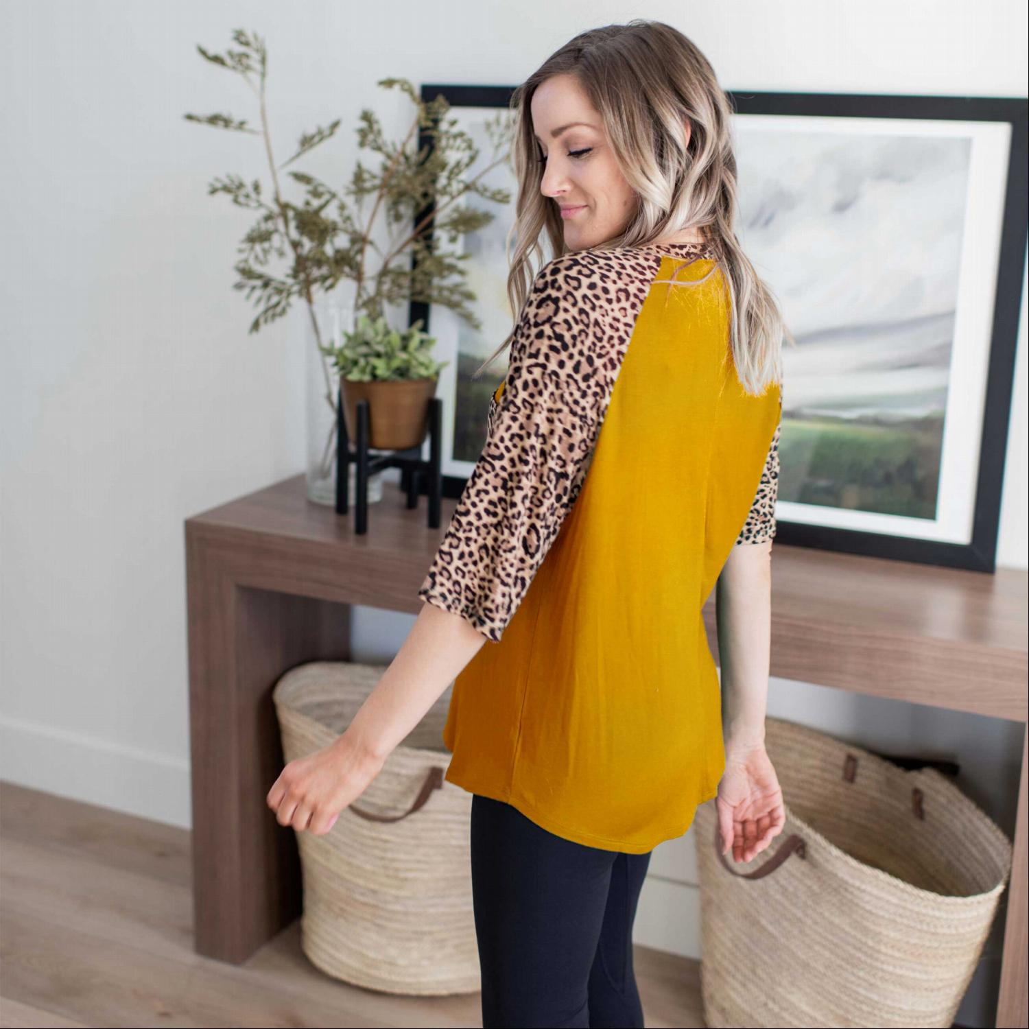 Golden Mustard Leopard Raglan Sleeve Patch Pocket Top