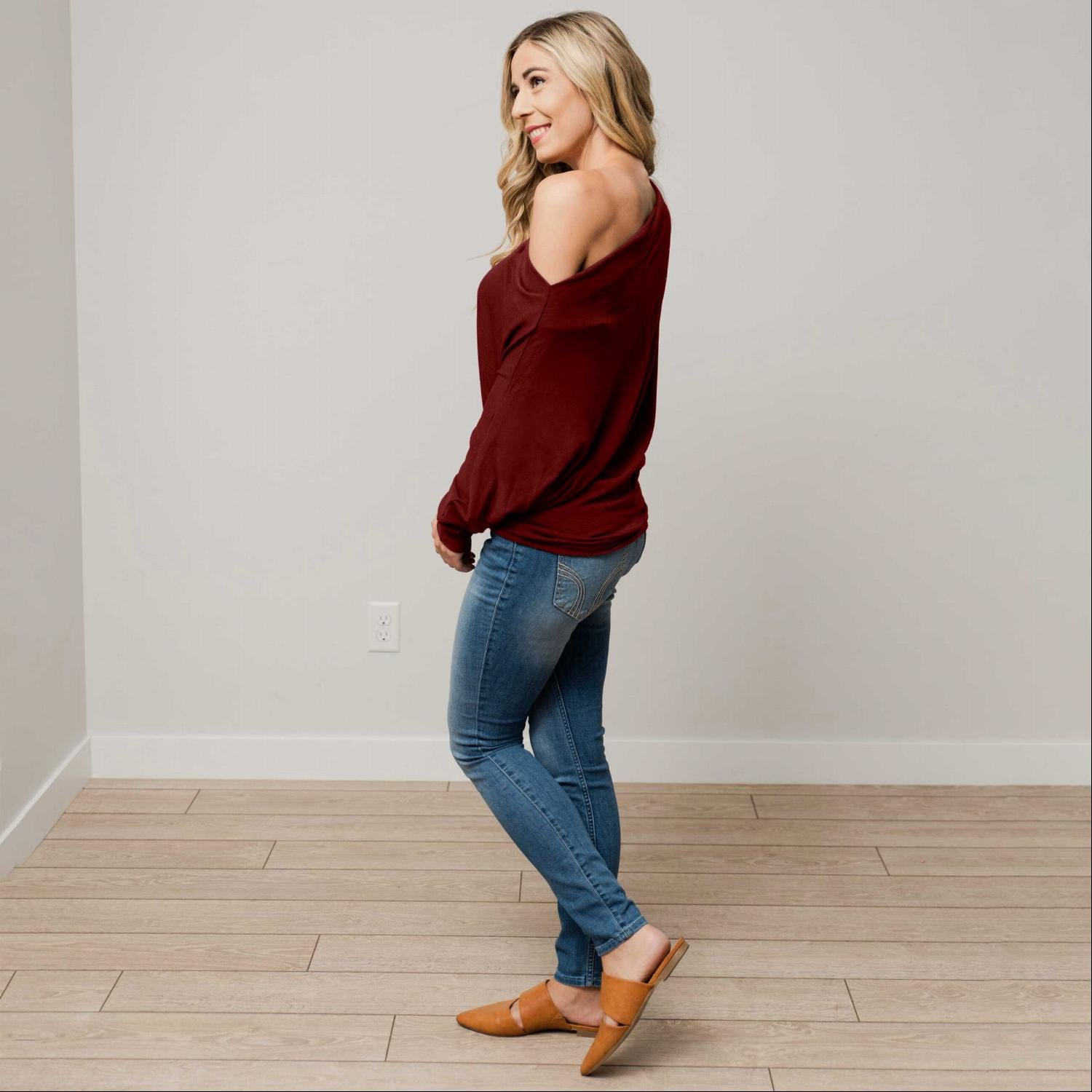 Burgundy Off Shoulder Dolman Long Sleeve Top