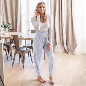 Heather Grey High-waisted Smocked Lounge Jogger Pants