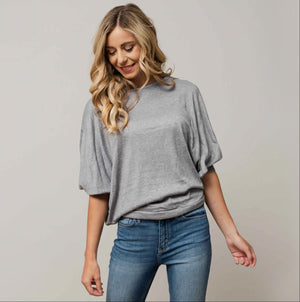 Grey Womens Dolman Long Sleeve Solid Round Neck Loose Fit Tunic Top Comfy Casual USA