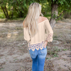 Tan Lace Trimmed Off Shoulder Lace Top