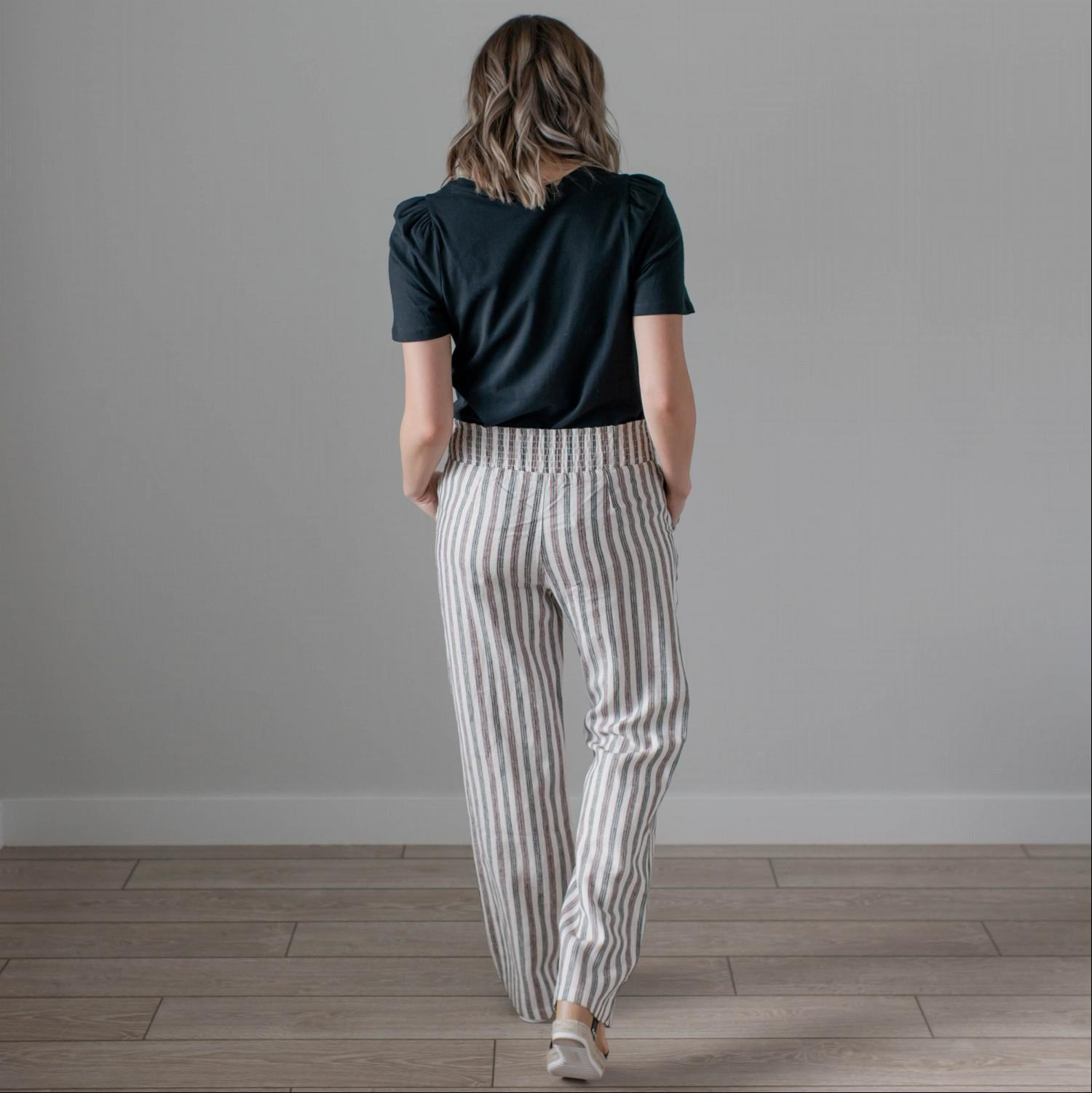 Rust Linen Striped Pocket Pants