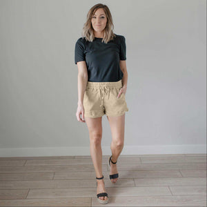 Taupe Linene Shorts w Pockets