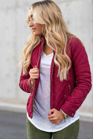 Burgundy Women's Padded Jacket Lightweight Quilted Coat Outwear Winter Packable Bomber