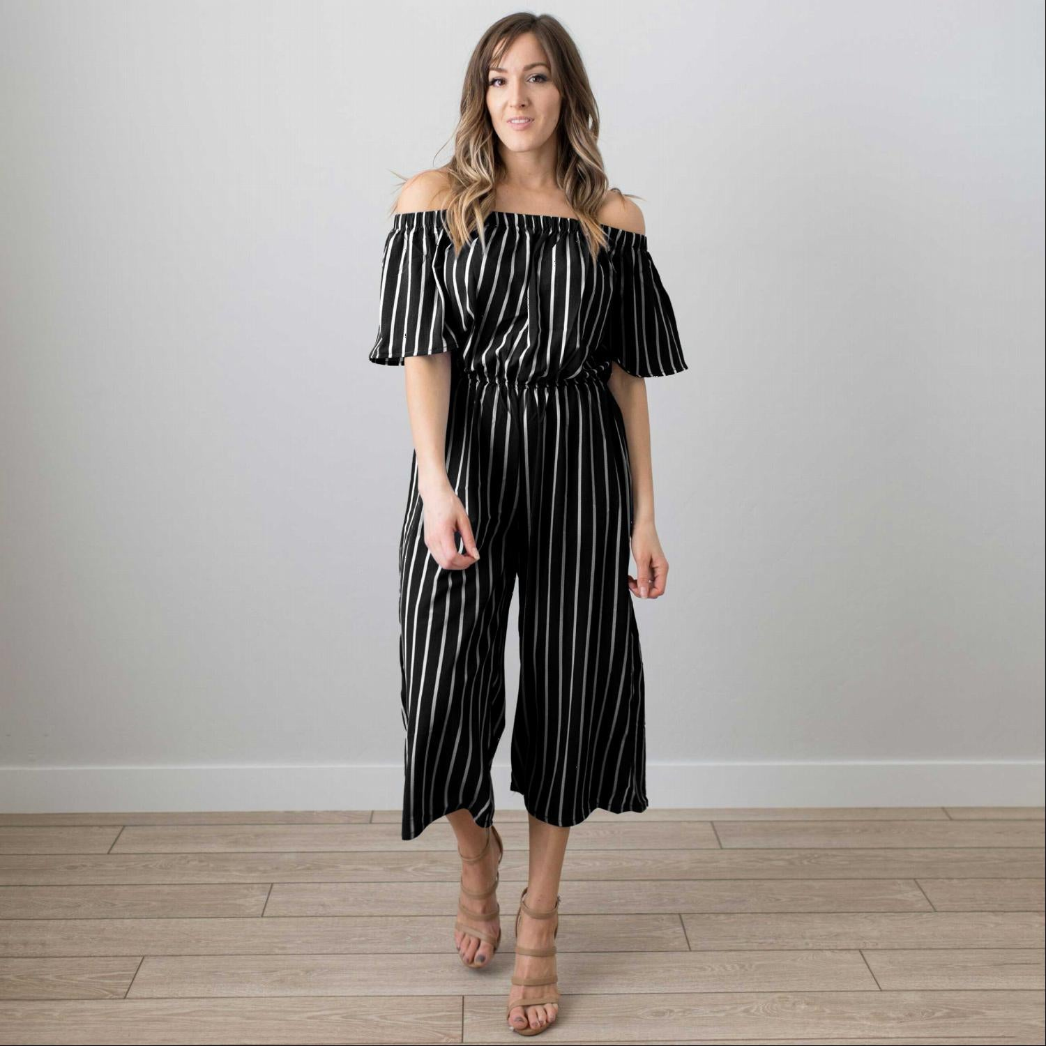 Black Women Jumpsuit Romper Off-Shoulder Playsuit Striped Capri Trousers Outfit USA