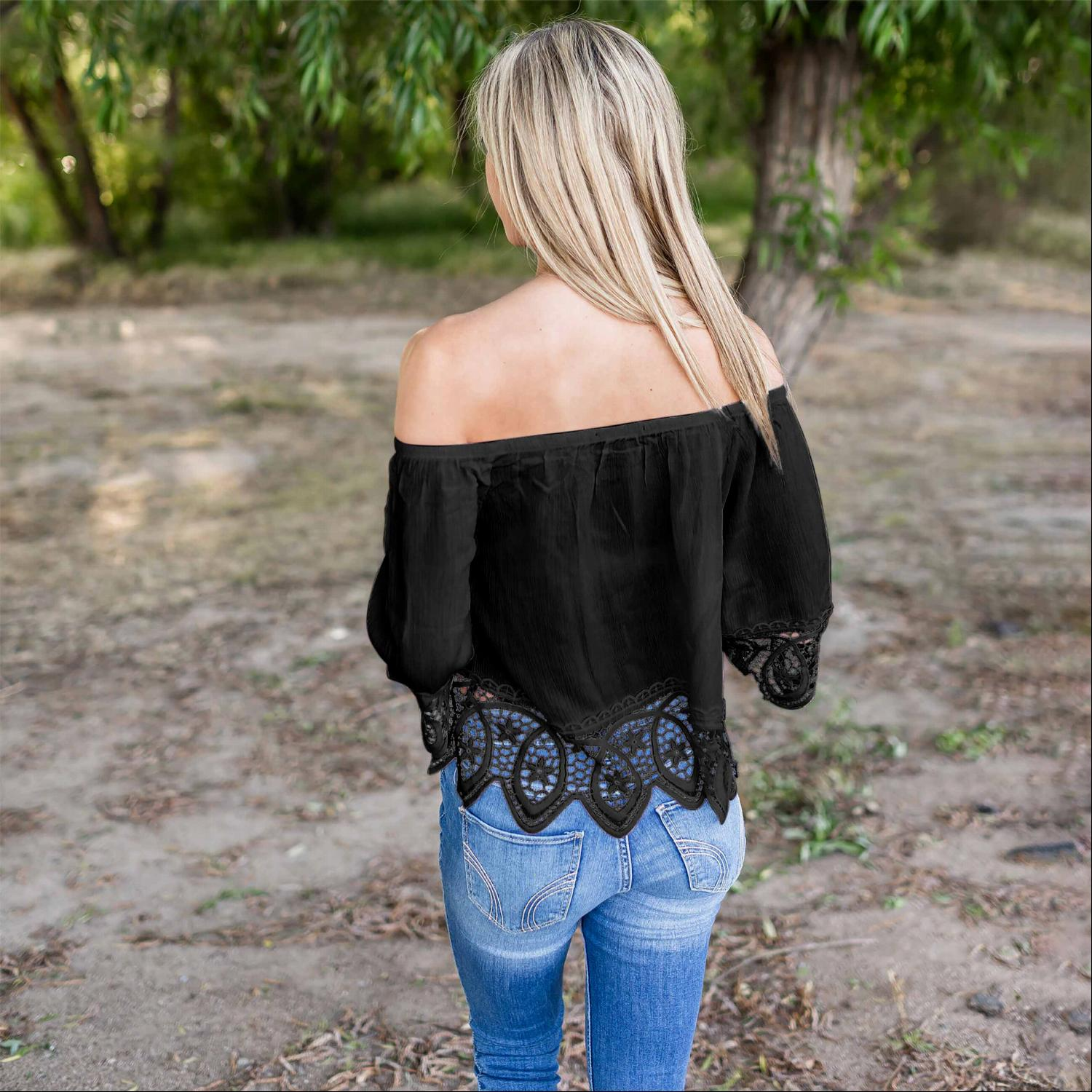 Black Lace Trimmed Off Shoulder Lace Top