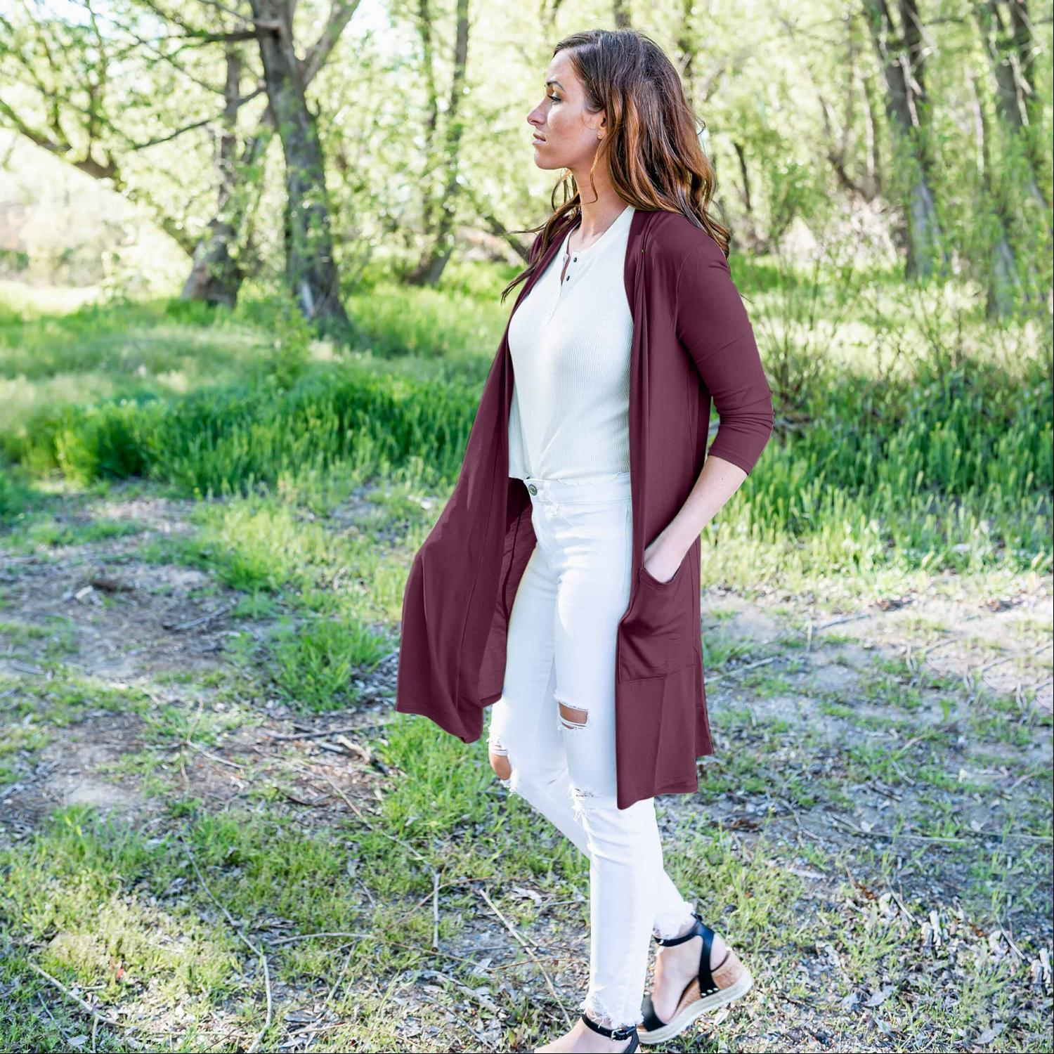 Plum Hacci Long Duster Cardigan