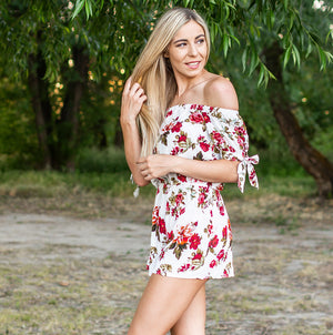 Ivory Floral Off Shoulder Woven Romper