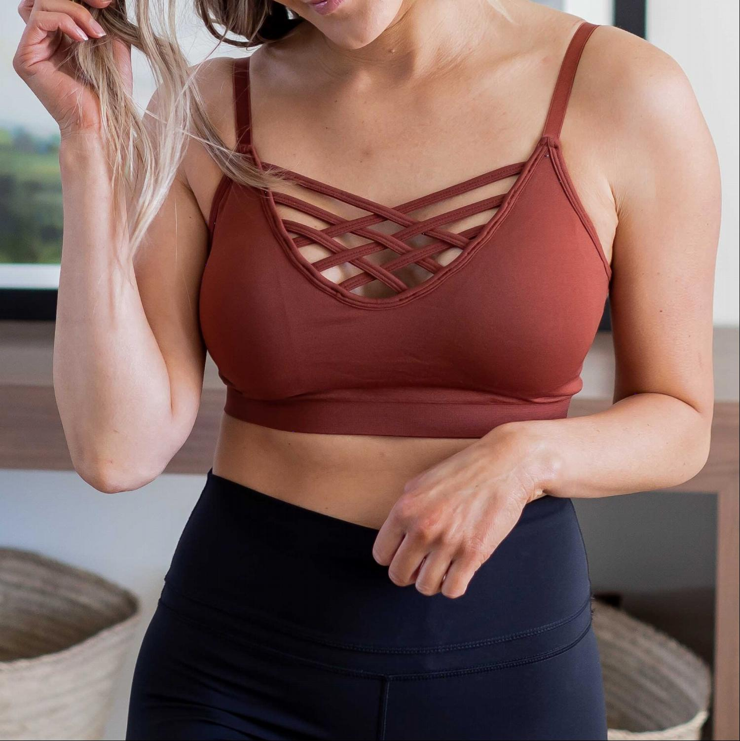 Dark Rust Front V-lattice Bralette With Removable Bra Pads