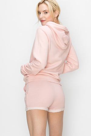 Blush LOVE EMBROIDERY FRENCH TERRY BASIC SHORTS