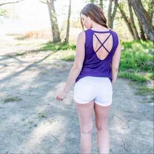 Purple US Women's Sleeveless Backless Loose Tops Ladies Criss Cross Casual Shirt Blouse