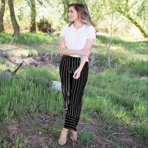 Black Vertical Striped Cropped Pants